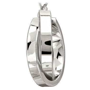 25mm Double Round Hoop Earrings in Sterling Silver
