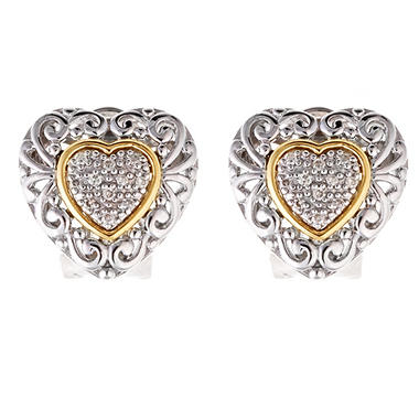 0.10 ct. t.w. Diamond Earrings in 14K Yellow Gold & Sterling Silver (H-I, I1)