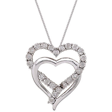 "18"" Double Open Heart Pendant with Diamonds in Sterling Silver"