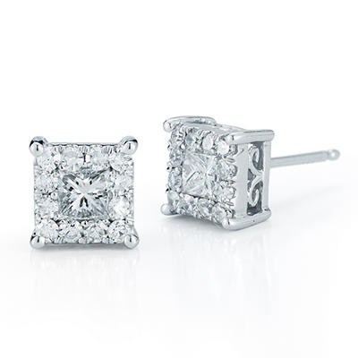 1.00 ct. t.w. Unity Diamond Princess and Round Cut Earrings in 14k White Gold (I, I1)