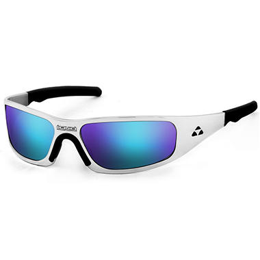 Gasket Polished Frame Sunglasses - Blue Mirror Polarized Lens