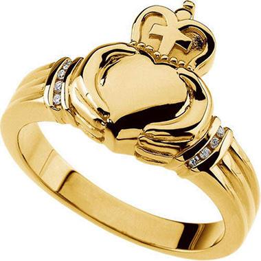 14K Yellow Gold Diamond Claddagh Band (I, I1)