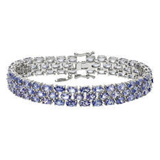 Tanzanite Three Row Bracelet in Sterling Silver (Appraisal Value: $425)