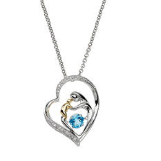 Moving Moments .51 CT. Blue Topaz and Diamond Accent Mother and Child Pendant