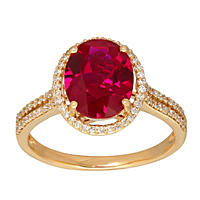 Oval Shaped Lab Created Ruby Ring with Diamonds in 14K Yellow Gold