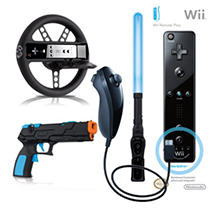 Black Wii Remote Plus and Nunchuk with 3-in-1 Attachment Pack