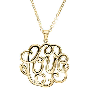 "17"" Love Monogram Necklace in 14K Yellow Gold"