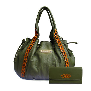 Orvieto by Estel Park Bohemian Khaki Leather Handbag