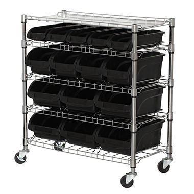 Sandusky 5-Shelf Mobile Bin Shelving Unit with Plastic Bins