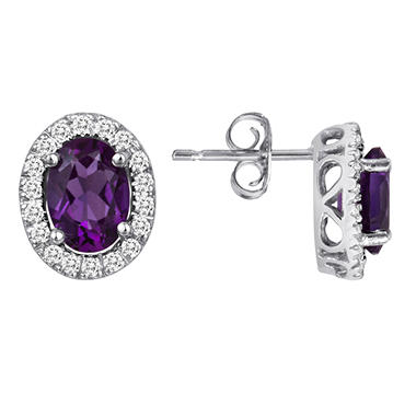 Oval Amethyst and White Topaz Earrings in 14K White Gold