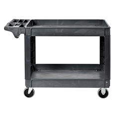 "Sandusky 2-Shelf Plastic Utility Cart with 5"" Casters"