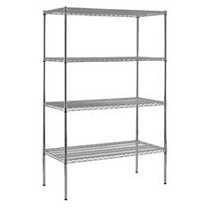 "Sandusky Heavy Duty NSF Certified Chrome 4-Shelf Wire Shelving - 86""H x 48""W x 24""D"