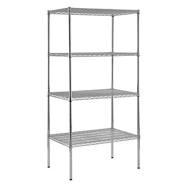 "Sandusky Heavy Duty NSF Certified Chrome 4-Shelf Wire Shelving - 86""H x 36""W x 24""D"