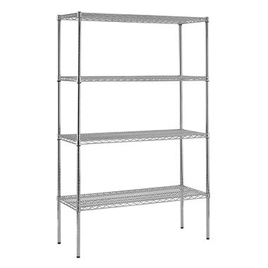"Sandusky Heavy Duty NSF Certified Chrome 4-Shelf Wire Shelving - 86""H x 48""W x 18""D"
