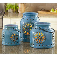 3 Indoor/Outdoor Stoneware Vintage Lanterns with Flameless Candles - Blue
