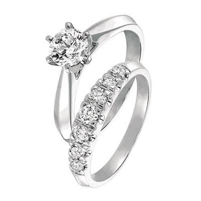 0.50 ct. t.w. Round Cut Diamond Cathedral Bridal Set in 14k White Gold (I, SI2)