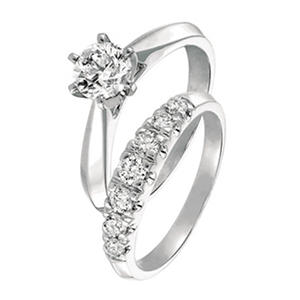 1.00 ct. t.w. Round Cut Diamond Cathedral Bridal Set in 14k White Gold (I, SI2)