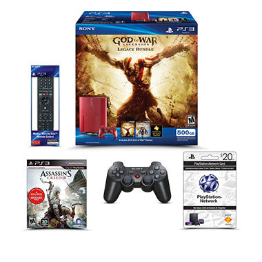 PS3 500GB Console (White Digital or Red God of War Bundle) w/ $20 PSN Card, Remote, Extra Controller & Extra Game