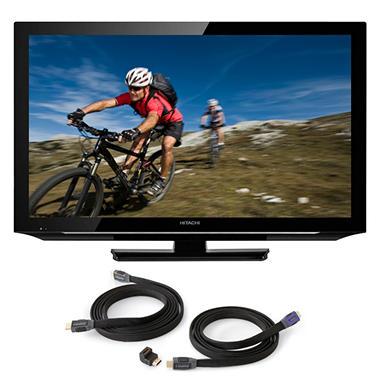 """40"""" Hitachi LCD 1080p HDTV w/ OmniMount HDMI Cables"""