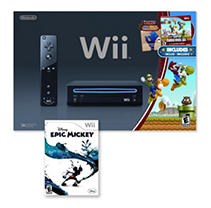Black Wii Console with New Super Mario Bros. and Epic Mickey
