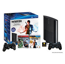 PlayStation3 Bundle w/ 250GB Console, Extra Controller, Uncharted, inFAMOUS Games