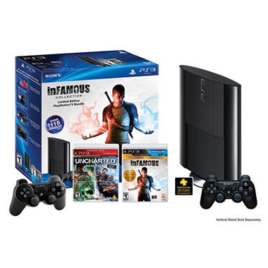 PS3 250GB Console Bundle with Extra Controller, Uncharted, inFAMOUS Games