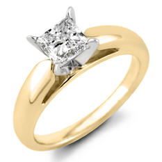 0.96 CT. Princess Diamond Solitaire Ring in 14K Yellow Gold (F, I1)