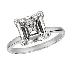 1.00 CT. TW. Asscher-Cut Diamond Solitaire Ring 14K White Gold (G, VS1)