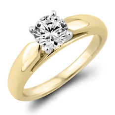 0.96 CT. Round Diamond Solitaire Ring in 14K Yellow Gold (F, I1)