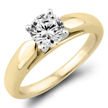 0.72 CT. Round Diamond Solitaire Ring in 14K Yellow Gold (F, I1)