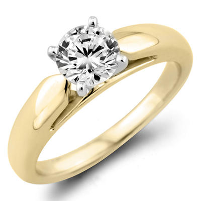 0.47 CT. Round Diamond Solitaire Ring in 14K Yellow Gold (F, I1)