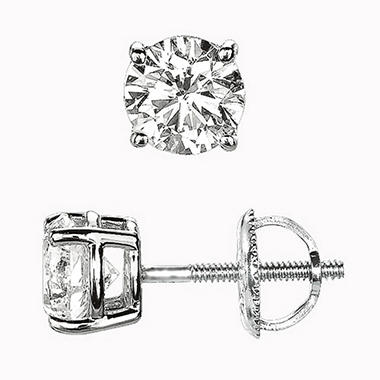 0.50 ct. t.w. Round-Cut Diamond Stud Earrings 14K White Gold (I, VS2)