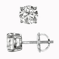 1.00 ct. t.w. Round-Cut Diamond Stud Earrings in Platinum (I, VS2)