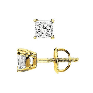 0.75 ctw. Princess-Cut Diamond Stud Earrings 14K Yellow Gold (I, VS2)