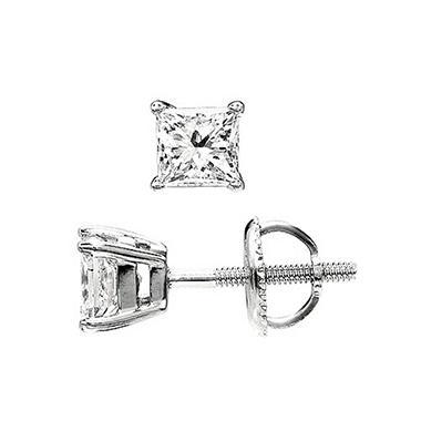 0.75 ct. t.w. Princess-Cut Diamond Stud Earrings 14K White Gold (I, VS2)