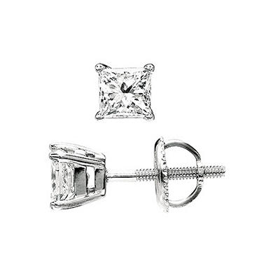 0.75 ct. t.w. Princess-Cut Diamond Stud Earrings 14K White Gold (I, VS2)