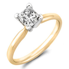 0.96 CT. Princess Diamond Solitaire Ring in 14K Yellow Gold with Platinum Head (H-I, SI2)