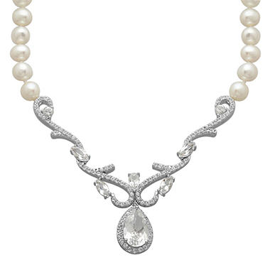 5mm Pearl and 4.33 CT. White Topaz Strand Necklace in Sterling Silver