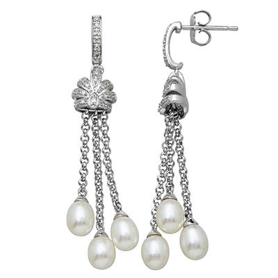 Freshwater Cultured Pearl Tassel Earrings with 0.12 CT. T.W. Diamonds in Sterling Silver