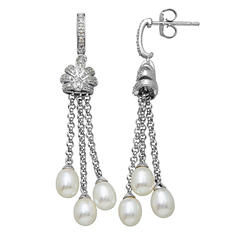 Freshwater Cultured Pearl Tassel Earrings with 0.12 CT. T.W. Diamonds in Sterling Silver