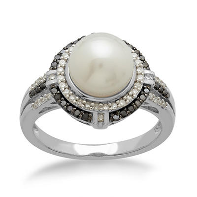 8mm Freshwater Cultured Pearl Ring with 0.30 CT. T.W. Black and White Diamonds in Sterling Silver
