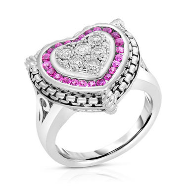 0.15 CT. T.W. Diamond and Ruby Heart Ring in Sterling Silver