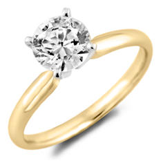 0.96 CT. Round Diamond Solitaire Ring in 14K Yellow Gold with Platinum Head (H-I, SI2)