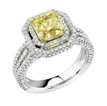 2.06 ct. t.w Fancy Yellow Diamond Ring in 14k White Gold (I & Yellow, I1)