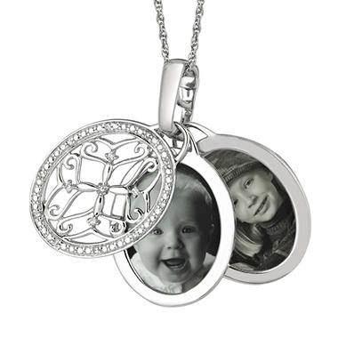 0.10 ct. t.w. Diamond Oval Locket Pendant in Sterling Silver (I, I1)
