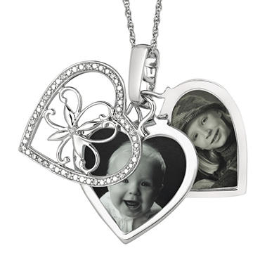 0.10 ct. t.w. Diamond Heart Locket Pendant in Sterling Silver (I, I1)
