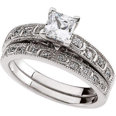 0.97 ct. t.w. Vintage-Style Diamond Bridal Ring Set (I, I1)