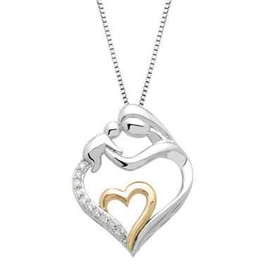 white gold mother daughter necklace