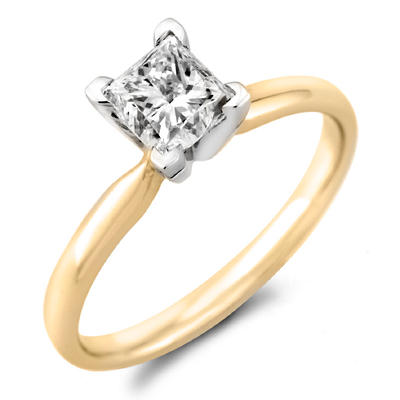 0.47 CT. Princess Diamond Solitaire Ring in 18K Yellow Gold with Platinum Head (H, VS2)
