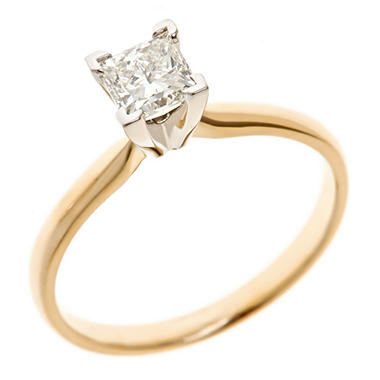 0.72 CT. Princess-Cut Diamond Solitaire Ring in 18K Yellow Gold (H, VS2)